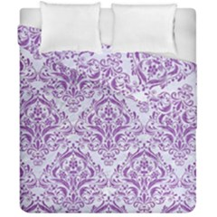 Damask1 White Marble & Purple Denim (r) Duvet Cover Double Side (california King Size) by trendistuff