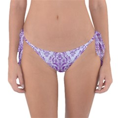 Damask1 White Marble & Purple Denim (r) Reversible Bikini Bottom by trendistuff