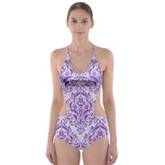 DAMASK1 WHITE MARBLE & PURPLE DENIM (R) Cut-Out One Piece Swimsuit