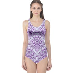 Damask1 White Marble & Purple Denim (r) One Piece Swimsuit