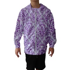 Damask1 White Marble & Purple Denim (r) Hooded Wind Breaker (kids) by trendistuff