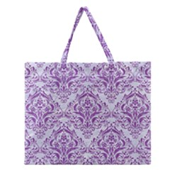 Damask1 White Marble & Purple Denim (r) Zipper Large Tote Bag by trendistuff