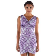 Damask1 White Marble & Purple Denim (r) Wrap Front Bodycon Dress by trendistuff