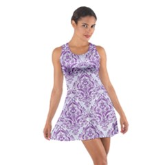Damask1 White Marble & Purple Denim (r) Cotton Racerback Dress