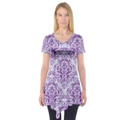 Damask1 White Marble & Purple Denim (r) Short Sleeve Tunic  by trendistuff
