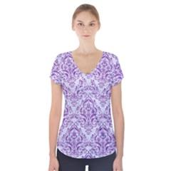 DAMASK1 WHITE MARBLE & PURPLE DENIM (R) Short Sleeve Front Detail Top