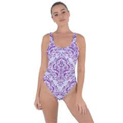 DAMASK1 WHITE MARBLE & PURPLE DENIM (R) Bring Sexy Back Swimsuit