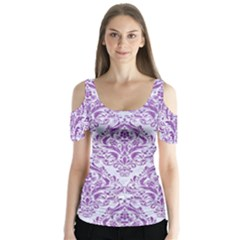 DAMASK1 WHITE MARBLE & PURPLE DENIM (R) Butterfly Sleeve Cutout Tee