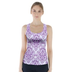 DAMASK1 WHITE MARBLE & PURPLE DENIM (R) Racer Back Sports Top