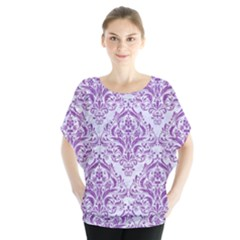 Damask1 White Marble & Purple Denim (r) Blouse by trendistuff