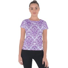 Damask1 White Marble & Purple Denim (r) Short Sleeve Sports Top