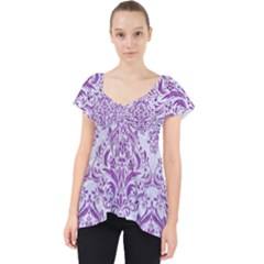 DAMASK1 WHITE MARBLE & PURPLE DENIM (R) Lace Front Dolly Top