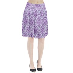 Damask1 White Marble & Purple Denim (r) Pleated Skirt by trendistuff
