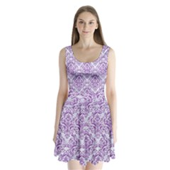 Damask1 White Marble & Purple Denim (r) Split Back Mini Dress  by trendistuff