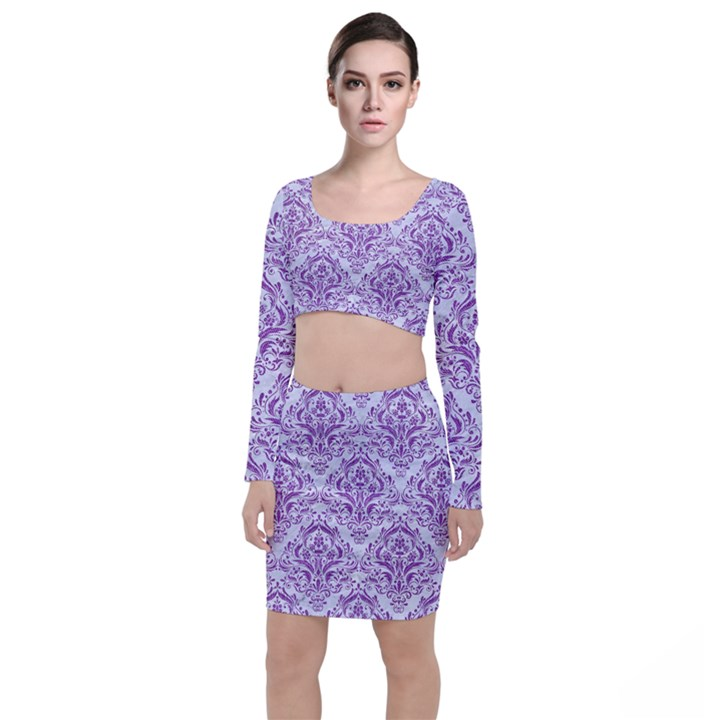 DAMASK1 WHITE MARBLE & PURPLE DENIM (R) Long Sleeve Crop Top & Bodycon Skirt Set