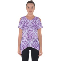DAMASK1 WHITE MARBLE & PURPLE DENIM (R) Cut Out Side Drop Tee
