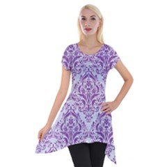 DAMASK1 WHITE MARBLE & PURPLE DENIM (R) Short Sleeve Side Drop Tunic
