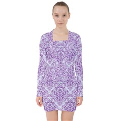 Damask1 White Marble & Purple Denim (r) V Neck Bodycon Long Sleeve Dress by trendistuff