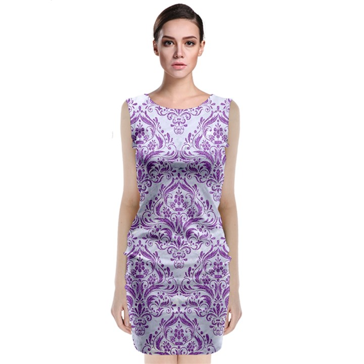 DAMASK1 WHITE MARBLE & PURPLE DENIM (R) Sleeveless Velvet Midi Dress