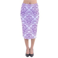 Damask1 White Marble & Purple Denim (r) Velvet Midi Pencil Skirt by trendistuff