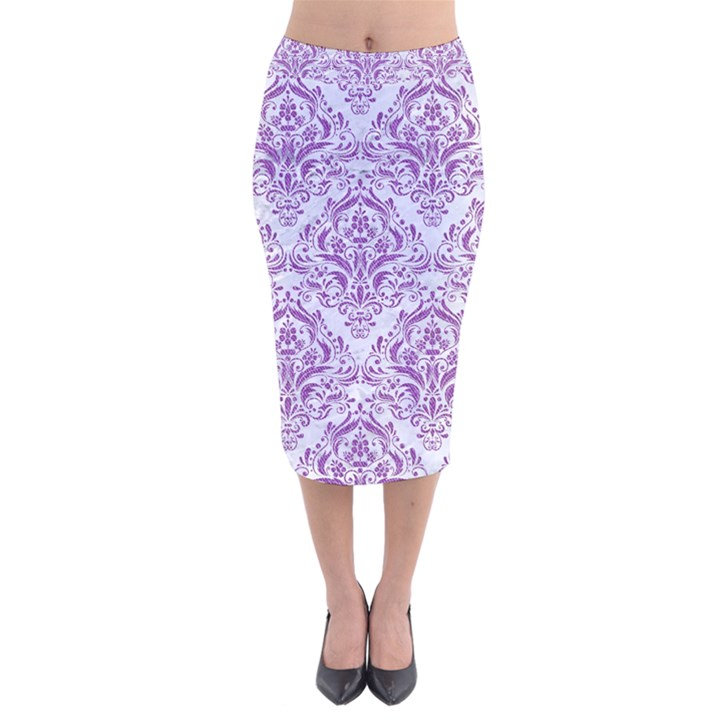 DAMASK1 WHITE MARBLE & PURPLE DENIM (R) Velvet Midi Pencil Skirt
