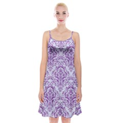 Damask1 White Marble & Purple Denim (r) Spaghetti Strap Velvet Dress by trendistuff