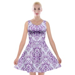 Damask1 White Marble & Purple Denim (r) Velvet Skater Dress by trendistuff