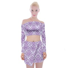 Damask1 White Marble & Purple Denim (r) Off Shoulder Top With Mini Skirt Set by trendistuff