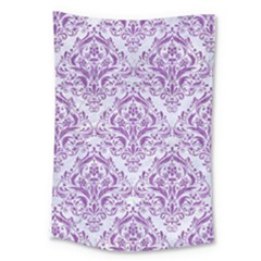 DAMASK1 WHITE MARBLE & PURPLE DENIM (R) Large Tapestry