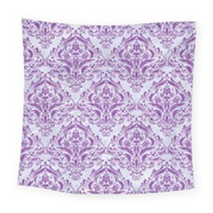 DAMASK1 WHITE MARBLE & PURPLE DENIM (R) Square Tapestry (Large)