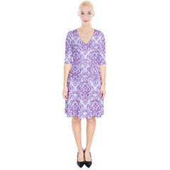 DAMASK1 WHITE MARBLE & PURPLE DENIM (R) Wrap Up Cocktail Dress