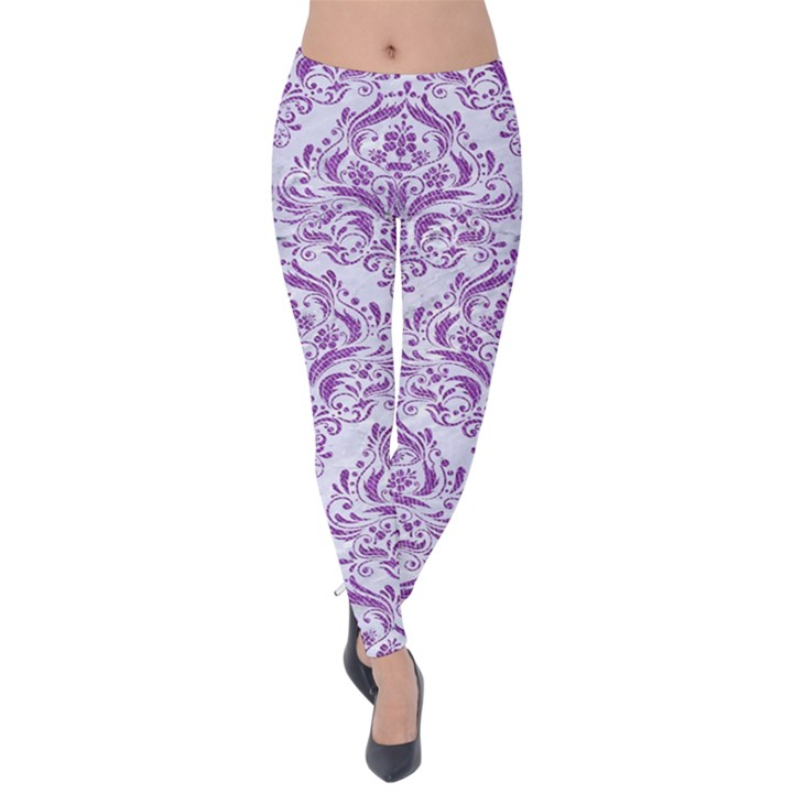 DAMASK1 WHITE MARBLE & PURPLE DENIM (R) Velvet Leggings