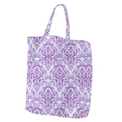 DAMASK1 WHITE MARBLE & PURPLE DENIM (R) Giant Grocery Zipper Tote