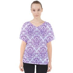 Damask1 White Marble & Purple Denim (r) V Neck Dolman Drape Top