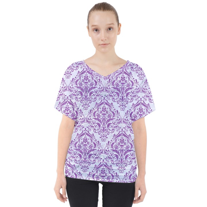 DAMASK1 WHITE MARBLE & PURPLE DENIM (R) V-Neck Dolman Drape Top