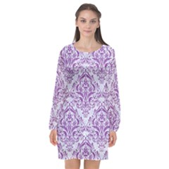 Damask1 White Marble & Purple Denim (r) Long Sleeve Chiffon Shift Dress