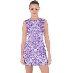 DAMASK1 WHITE MARBLE & PURPLE DENIM (R) Lace Up Front Bodycon Dress