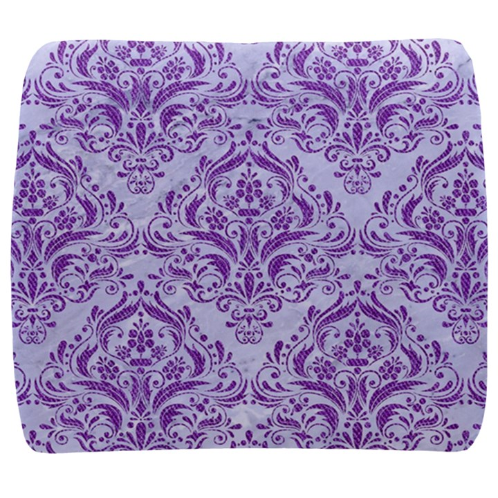 DAMASK1 WHITE MARBLE & PURPLE DENIM (R) Back Support Cushion