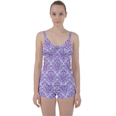 Damask1 White Marble & Purple Denim (r) Tie Front Two Piece Tankini by trendistuff