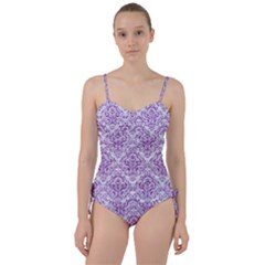 Damask1 White Marble & Purple Denim (r) Sweetheart Tankini Set by trendistuff