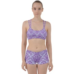 Damask1 White Marble & Purple Denim (r) Women s Sports Set by trendistuff