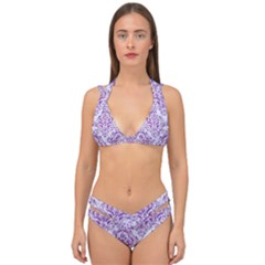 Damask1 White Marble & Purple Denim (r) Double Strap Halter Bikini Set by trendistuff