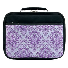 DAMASK1 WHITE MARBLE & PURPLE DENIM (R) Lunch Bag