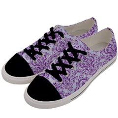 DAMASK1 WHITE MARBLE & PURPLE DENIM (R) Men s Low Top Canvas Sneakers