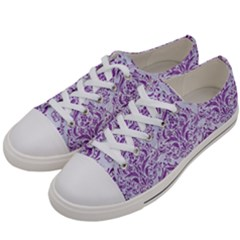 DAMASK1 WHITE MARBLE & PURPLE DENIM (R) Women s Low Top Canvas Sneakers