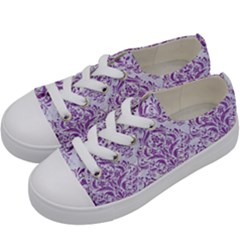 DAMASK1 WHITE MARBLE & PURPLE DENIM (R) Kids  Low Top Canvas Sneakers