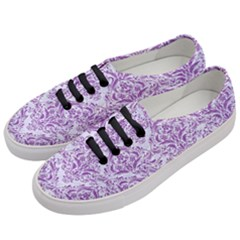 DAMASK1 WHITE MARBLE & PURPLE DENIM (R) Women s Classic Low Top Sneakers
