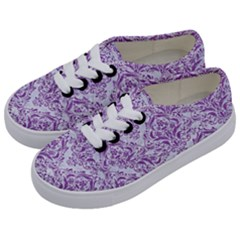 DAMASK1 WHITE MARBLE & PURPLE DENIM (R) Kids  Classic Low Top Sneakers