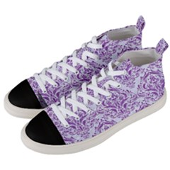 DAMASK1 WHITE MARBLE & PURPLE DENIM (R) Men s Mid-Top Canvas Sneakers