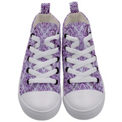 Damask1 White Marble & Purple Denim (r) Kid s Mid Top Canvas Sneakers